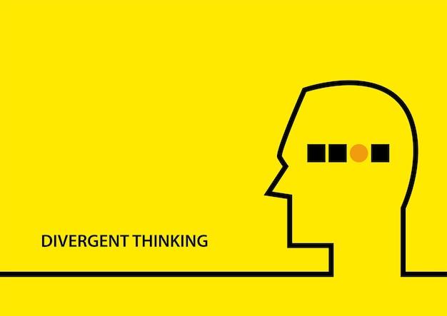 Ilustração em vetor plana simples do símbolo de pensamento divergente