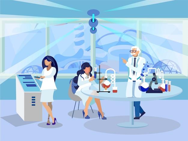 Ilustração em vetor plana trabalhadores de laboratório de química