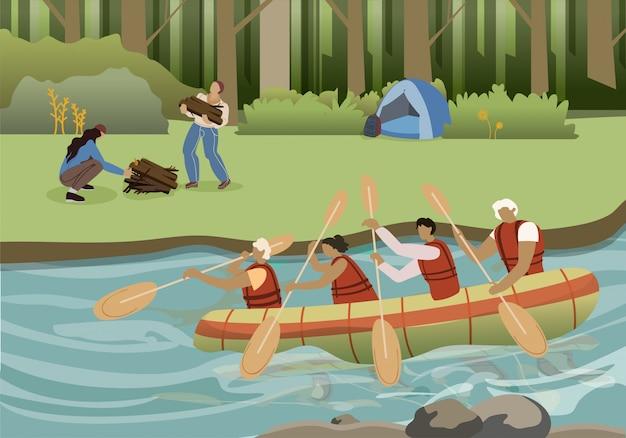 Ilustração em vetor plana verão turismo ativo