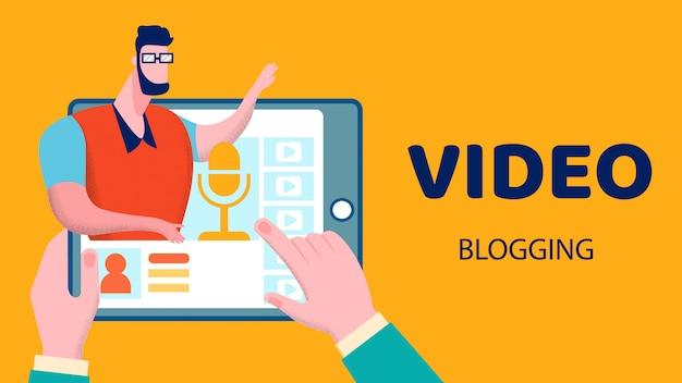 Ilustração em vetor plana vídeo blogging negócios