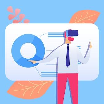 Ilustração em vetor plana vr negócios apresentação