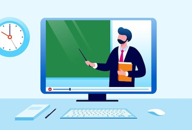 Ilustração em vetor plano de aprendizagem ou educação on-line para banner e página de destino