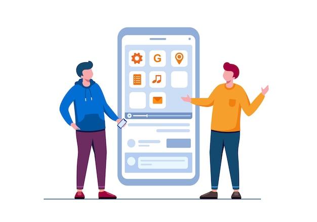 Ilustração em vetor plano para desenvolvedor e programador de celular para banner e página de destino