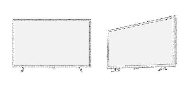 Ilustração em vetor poligonal de telas de tv led ou lcd exibe low poly art