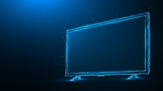 Ilustração em vetor poligonal de tv led ou lcd em fundo azul escuro. monitor de tv de baixo poli.