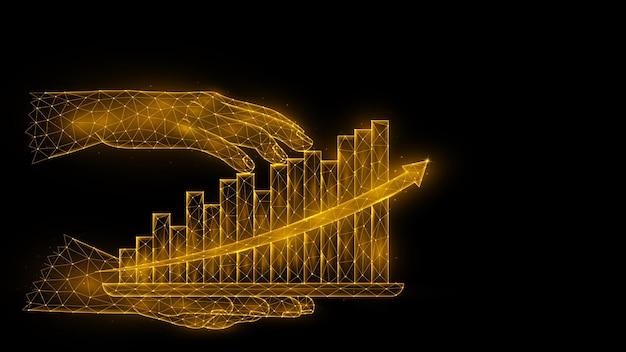 Ilustração em vetor poligonal de uma mão segurando um tablet com um holograma de um gráfico de crescimento