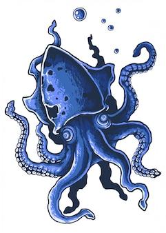 Ilustração em vetor polvo gigante tentacle octopus