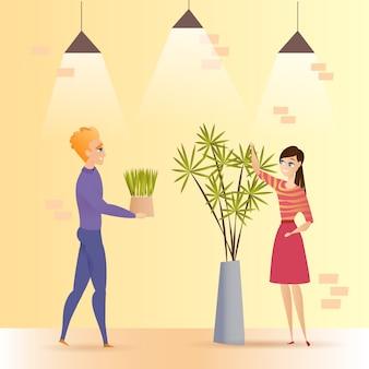 Ilustração em vetor pote verde planta de escritório