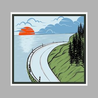Ilustração em vetor praia estrada