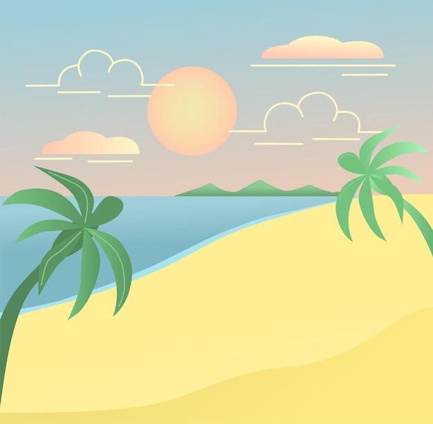 Ilustração em vetor praia verão férias viagem cena