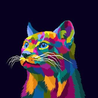 Ilustração em vetor premium colorido gato pop art