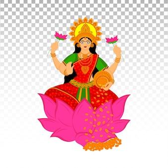 Ilustração em vetor premium da deusa hindu indiana laxmi