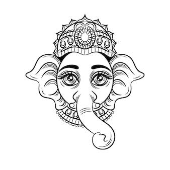 Ilustração em vetor preto branco. o deus indiano com uma cabeça de elefante. divindade indiana ganesh.
