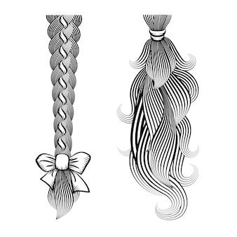 Ilustração em vetor preto e branco de cabelo solto amarrado em uma trança e rabo de cavalo com uma fita e uma faixa