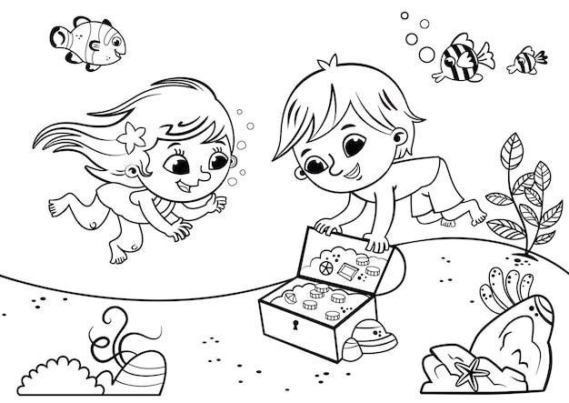 Ilustração em vetor preto e branco de duas crianças no fundo do mar