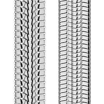 Ilustração em vetor preto e branco de faixas de pneus de carro sobre fundo branco