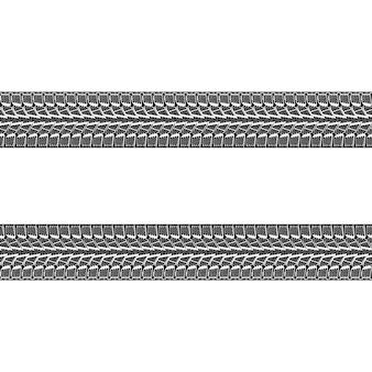 Ilustração em vetor preto e branco de faixas de pneus de carro