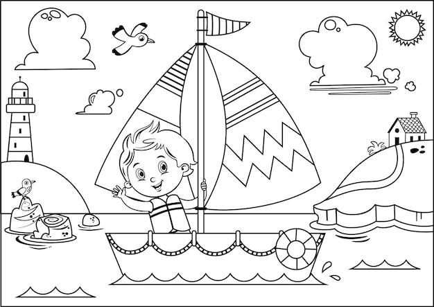 Ilustração em vetor preto e branco de uma aventura de velejar para meninos