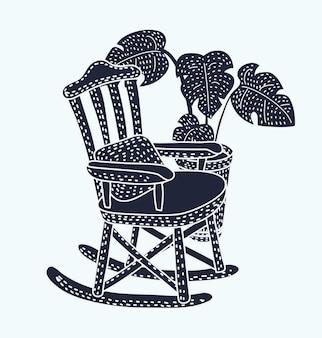 Ilustração em vetor preto e branco de uma cadeira de balanço