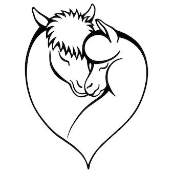 Ilustração em vetor preto e branco desenhada à mão de mãe e bebê lhama na forma de um coração
