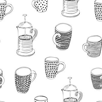 Ilustração em vetor preto e wight sagacidade padrão sem emenda xícaras e bule