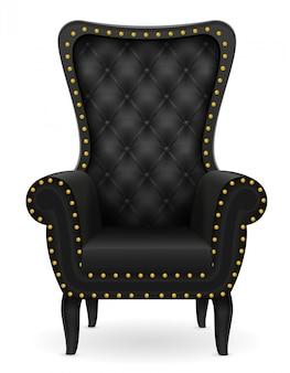 Ilustração em vetor preto poltrona mobiliário