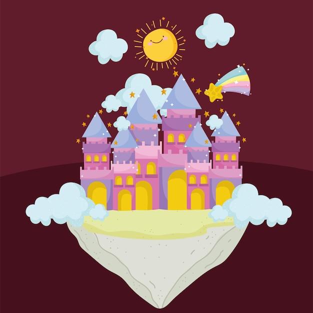 Ilustração em vetor princesa conto desenho animado castelo fantasia mágica sol