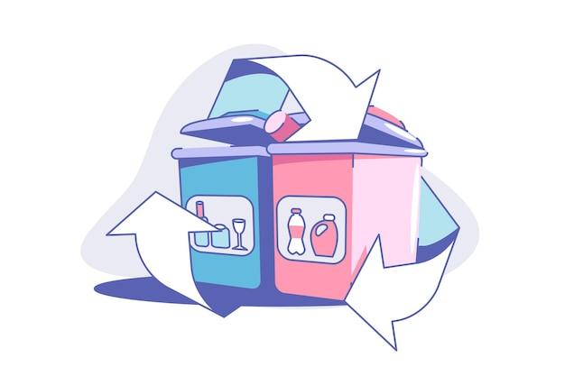 Ilustração em vetor processo de reciclagem de resíduos ecologia de descarte de resíduos e proteção do meio ambiente