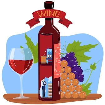 Ilustração em vetor produto vinho uva.