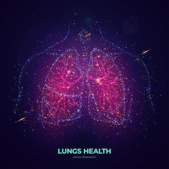 Ilustração em vetor pulmão humano brilhante feita de partículas de néon. a arte do conceito de saúde de pulmões mágicos brilhantes em estilo abstrato moderno consiste em pontos coloridos.