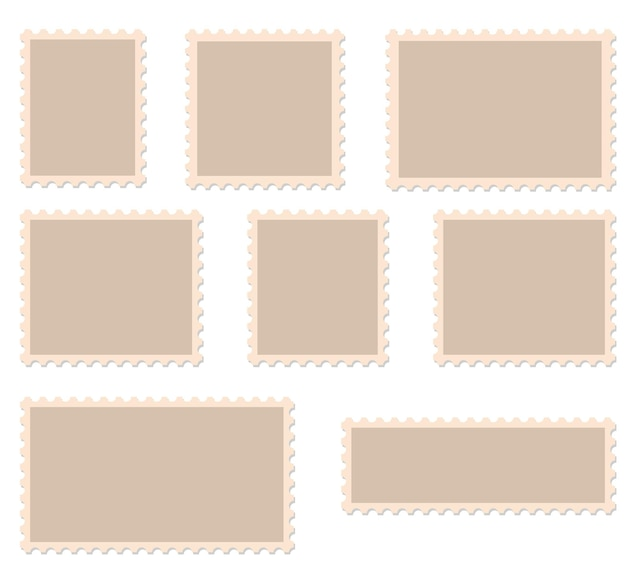 Ilustração em vetor quadros selos em branco.