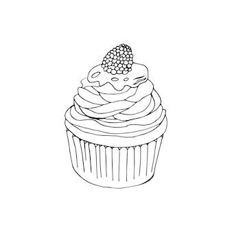 Ilustração em vetor queque. bolos doodle com creme e frutas.