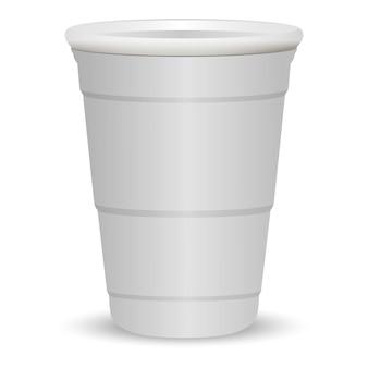 Ilustração em vetor realista 3d festa copo branco