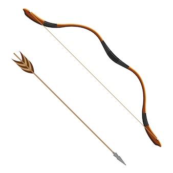 Ilustração em vetor realista arco e flecha de tiro com arco de sistema de armas de projétil. arco flexível que atira projéteis aerodinâmicos chamados flechas