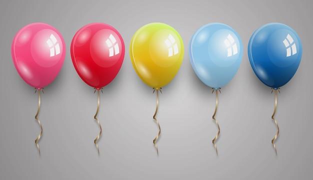 Ilustração em vetor realista balão vermelho rosa amarelo claro azul e azul