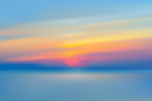 Ilustração em vetor realista céu turva por do sol do mar.