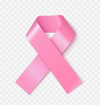 Ilustração em vetor realista fita rosa de conscientização de câncer de mama. símbolo 3d de saúde feminina isolado em fundo transparente. elemento de design de fita de seda. emblema de solidariedade feminina com doenças oncológicas