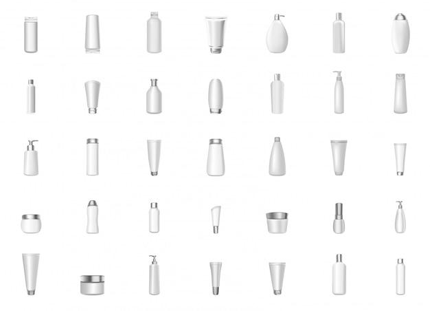 Ilustração em vetor realista maquete de garrafas brancas cheias