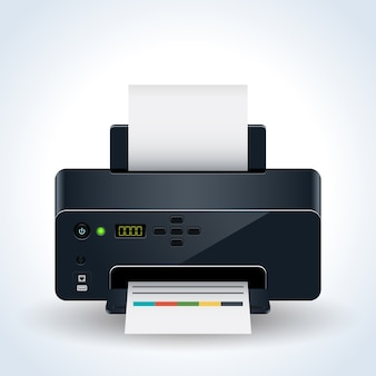 Ilustração em vetor realista moderna impressora desktop