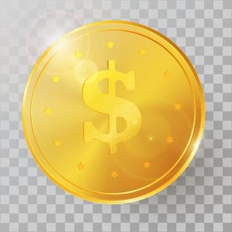 Ilustração em vetor realista moeda de ouro 3d