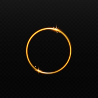 Ilustração em vetor realista moldura dourada brilhante redondo isolada em fundo escuro. elemento decorativo de círculo curvo brilhante ou efeito 3d brilhante.
