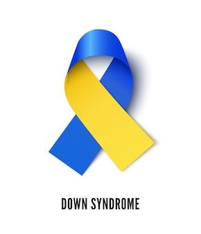 Ilustração em vetor realista símbolo de consciência de síndrome de down. fita azul e amarela isolada no fundo branco. mês mundial de tolerância à deficiência mental, solidariedade à doença cerebral congênita