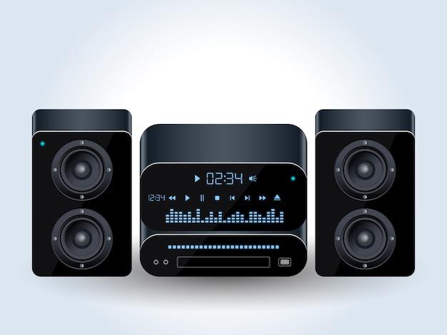 Ilustração em vetor realista sistema de áudio em casa