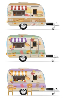 Ilustração em vetor reboque fast food