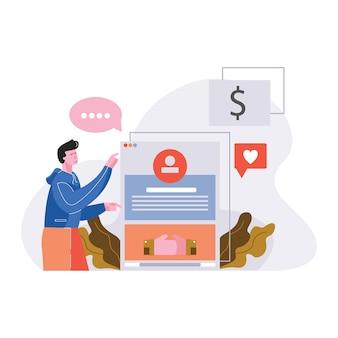 Ilustração em vetor rede social negócios rede