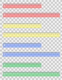 Ilustração em vetor régua colorida transparente