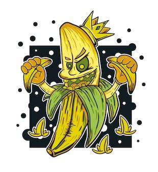Ilustração em vetor rei banana monstro