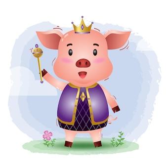 Ilustração em vetor rei bonito porco
