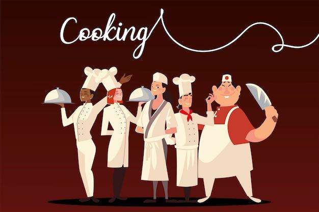 Ilustração em vetor restaurante chefs cozinhando alimentos trabalhadoras profissionais