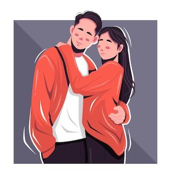 Ilustração em vetor retrato casal romântico